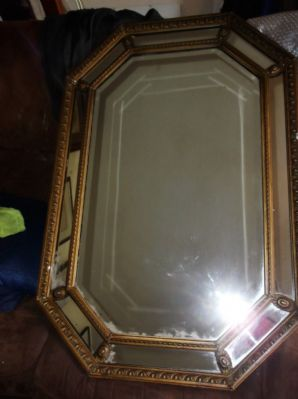 LARGE ANTIQUE EDWARDIAN GILT FRAMED BEVELLED MIRROR WITH PANEL INSETS & ROSETTES